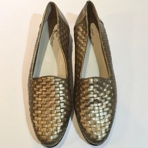 Trotters Gold Basketweave Leather Loafers Sz. 12N